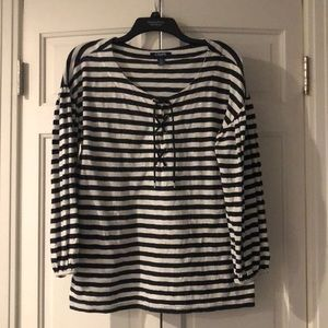 Chaps Black and White stripped top